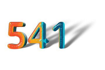 3D Number 541 five hundred forty one lively colours