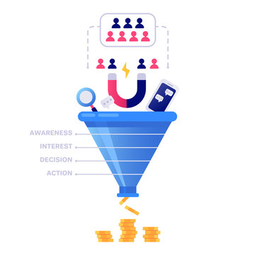 Funnel sales concept. Marketing infographic, sale conversion and lead sales pipeline isolated vector illustration