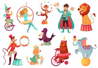Circus animals. Animal acrobatic tricks, circus family acrobat entertainment. Cartoon vector isolated illustration