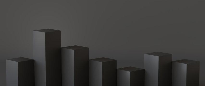 Empty black podium on dark background. 3D rendering.