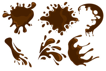 Coffee and chocolate drips and splashes on white background. Vector eps10 illustration Fototapete