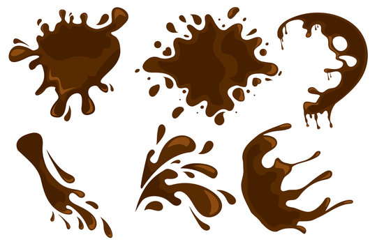 Coffee and chocolate drips and splashes on white background. Vector eps10 illustration