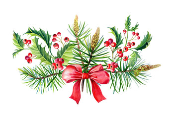 Watercolor Christmas bouquet with bow,Holly,leaves,berries,pine,spruce, greeting card,design.
