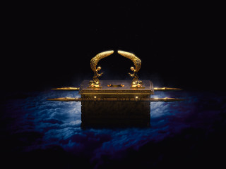 Ark of the covenant on a dark background with smoke / 3D illustration