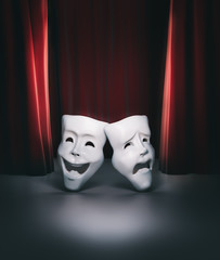 theater stage with red curtain and masks / 3D illustration