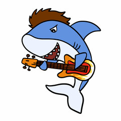 Guitarrist shark cartoon - Funny shark