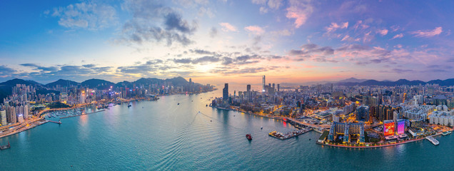 Wall Mural - Sunset of Victoria Harbour, Hong Kong