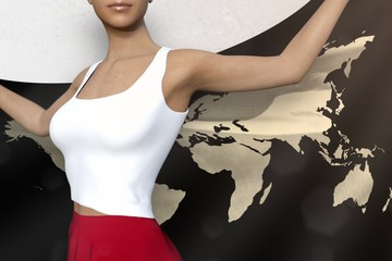 sexy lady in bright skirt holds World flag in hands behind her back on the white background - flag concept 3d illustration