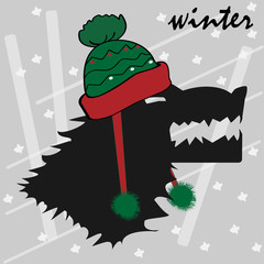 A portrait of an angry wolf, he wears a winter hat. Design, greeting card of the beginning of winter.