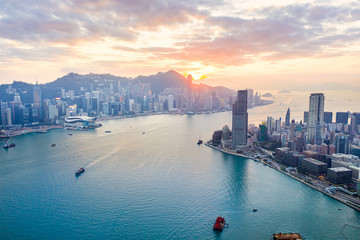 Fototapete - Sunset of Victoria Harbour, Hong Kong