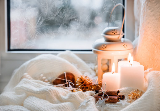 Winter and Christmas candles light.