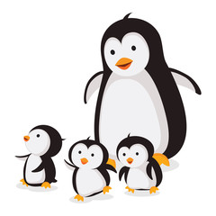 Mother penguin with baby penguins