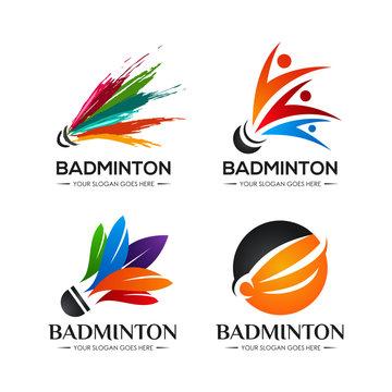 badminton shuttlecock logo icon symbol design