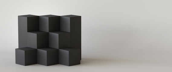 Black cube boxes with white blank wall background. 3D rendering.