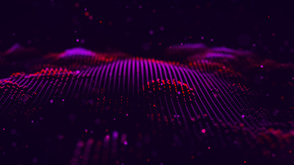 Wave of particles. Futuristic red dots background with a dynamic wave. Big data. 3d rendering.