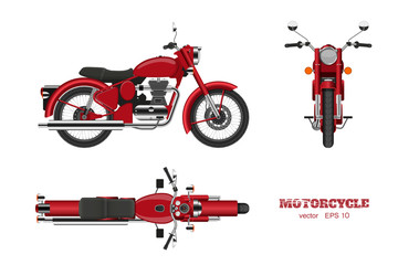 Retro classic motorcycle in realistic style. Side, top and front 3d view. Detailed image of vintage red motorbike on white background