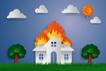 Keuken foto achterwand Magische wereld creative house on fire paper art illustration design