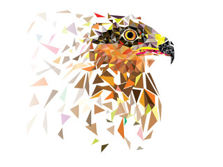 Eagle in low polygon geomatric pattern design vector eps10