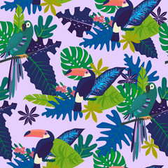 Seamless pattern with tropical leaves and birds. Editable vector illustration