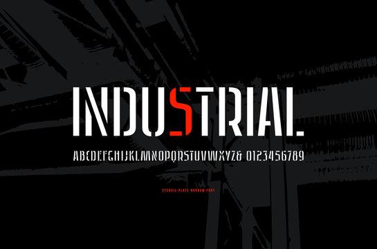 Stock vector stencil-plate sans serif narrow font