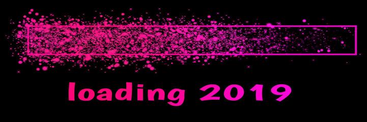 farbiger Ladebalken mit Glitzer für das Jahr 2019