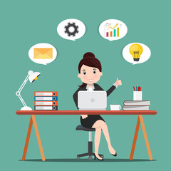 Productivity concept.Business woman working at the desk.Vector illustration.