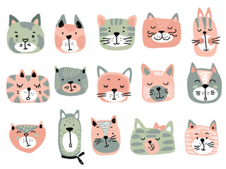 Vector collection of colorful cat faces. Funny illustration for children