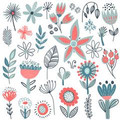 Vector collection of fancy flowers. Scandinavian motives.