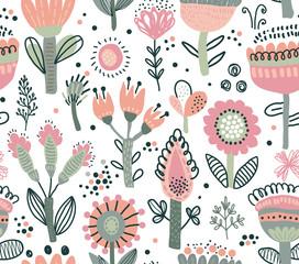 Vector seamless pattern with fancy flowers. Scandinavian motives.