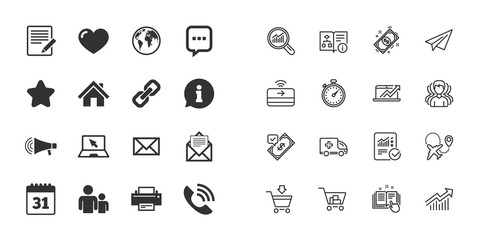 Set of Communication, Conference and Information icons. E-Mail, Printer and Internet signs. Speech bubble, Support and Phone call symbols. Paper plane, report and shopping cart icons. Group of people
