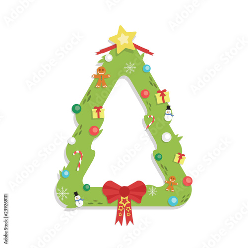 Christmas Tree Shaped Garland Cartoon Flat Style Isolated Stock