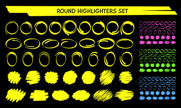 Yellow highlight marker circle frame set vector illustration. Group of hand drawn round frames and marker scribbles. Neon colors highlight blob brush marks for social media or office style design
