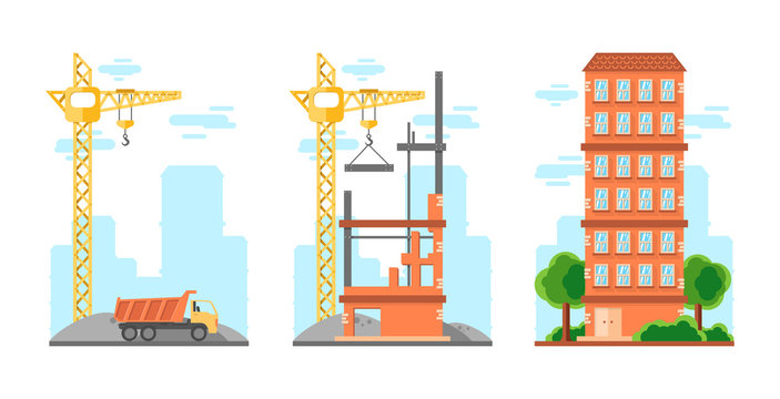 three flat isolated illustrations about the process of building a building with technology