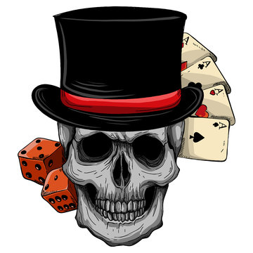 skull with top hat and casino game
