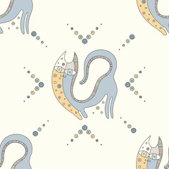 Vector hand drawn colorful seamless pattern, illustration of cat with decorative geometrical elements, lines, dots. Line drawing. Graphic artistic design.