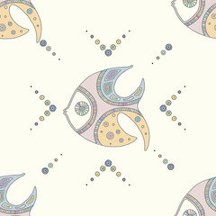 Vector hand drawn colorful seamless pattern, illustration of fish with decorative geometrical elements, lines, dots. Line drawing. Graphic artistic design.