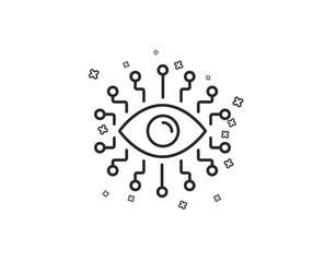 Artificial intelligence line icon. All-seeing eye sign. Geometric shapes. Random cross elements. Linear Artificial intelligence icon design. Vector