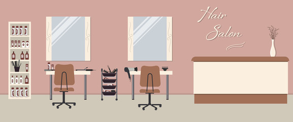 "Hair salon interior in a pink color. Beauty salon. There are tables, chairs, mirrors and shelves with hairdressing accessories in the image. There is also text ""Hair Salon"" on the wall. Vector"