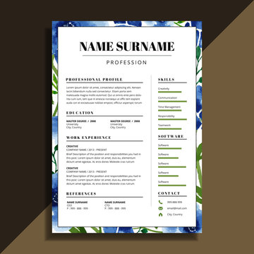 watercolor floral resume cv template design