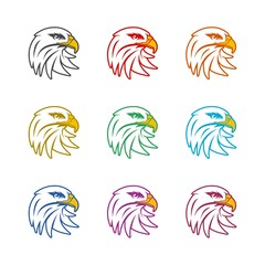Eagle mascot logo for sport team, Eagle head icon or logo, color set
