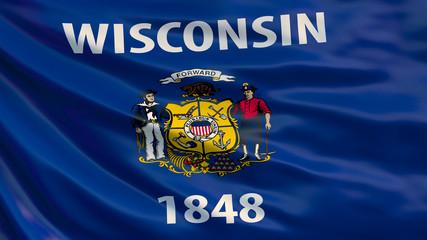 Fototapeta Wisconsin  state flag. Waving flag of Wisconsin  state, United States of America. obraz