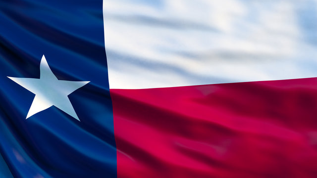 Texas  state flag. Waving flag of Texas  state, United States of America.