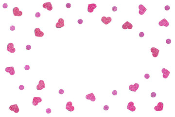 Pink glitter heart paper cut background - isolated
