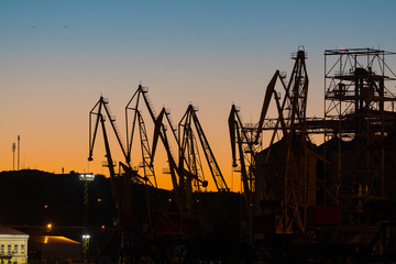 Cargo port cranes on a background of sunset sky