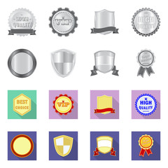 Isolated object of emblem and badge icon. Collection of emblem and sticker stock symbol for web.