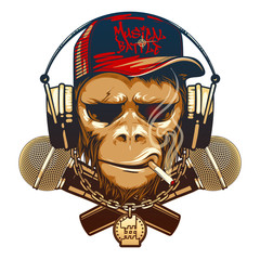 Hipster monkey is a music lover with earphones and two microphones. Musical battle.