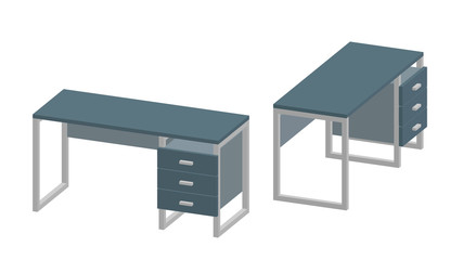 Empty office desk. Isolated on white background. 3d Vector illustration.