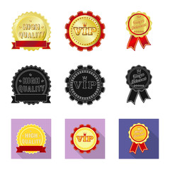 Vector design of emblem and badge sign. Set of emblem and sticker stock vector illustration.