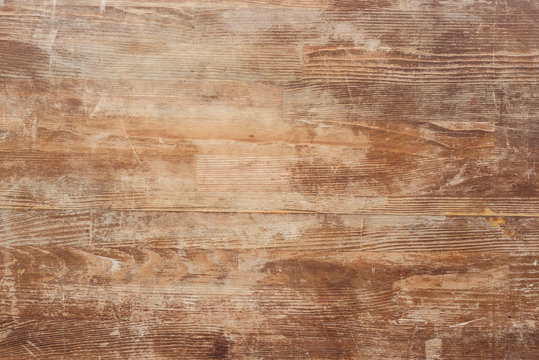 empty old brown wooden table background