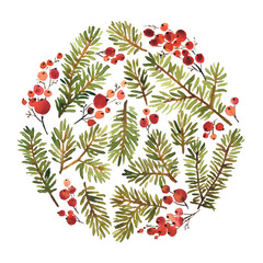 Watercolor circle composition of spruce and holly berries for Christmas decoration